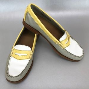 Weejun Bass Penny Loafers in Yellow White & Grey